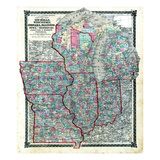 1876, County Map of Michigan, Wisconsin, Indiana, Illinois, Iowa and Missouri, Missouri, United Sta Giclee Print