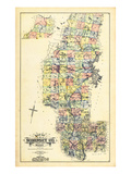 1883, Somerset County Map, Maine, United States Giclee Print