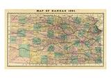1884, Kansas State Map, Kansas, United States Giclee Print