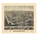 1878, Unionville Bird's Eye View, Connecticut, United States Giclee Print