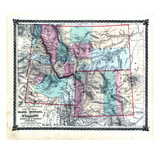 1876, County Map of Idaho, Montana and Wyoming, Missouri, United States Giclee Print