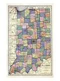 1922, Indiana State Map, Indiana, United States Giclee Print