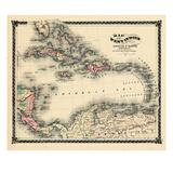 1876, Bezirkskarte von Florida, West Indies, Karibik, Mexico, Cuba, Südamerika, United Giclée-Druck