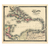 1876, County Map of Florida, West Indies, Caribbean, Mexico, Cuba, South America, United Giclee Print