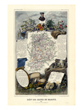 1885, France, Wine Regions of France - North Reproduction procédé giclée