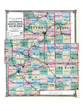 1875, Winnebago, Boone, Ogle, Lee and De Kalb Counties Map, Illinois, United States Giclee Print