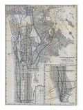 1941, Manhattan and The Bronx Map, New York, United States Giclee Print