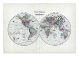1873, The World in Hemispheres Reproduction procédé giclée
