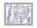 1864, Bolivia, Brazil, Chile, Paraguay, Uruguay, South America, Chili, Brazil, Bolivia, Paraquay Giclee Print