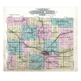 1913, Stephenson County Outline Map, Illinois, United States Giclee Print