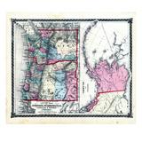1876, County Map of Oregon and Washington, Territory of Alaska, Missouri, United States Giclee Print