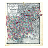 1876, County Map Tennessee, Kentucky, Alabana, Mississippi, Arkansas and Louisiana, Missouri, Unite Giclee Print