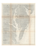 1866, Chesapeake Bay and Virginia's Eastern Shore Chart Virginia, Virginia, United States Giclee Print