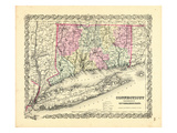 1855, Connecticut State Map Long Island Sound, Connecticut, United States Giclee Print