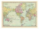1913, World, World Map Giclee-trykk