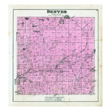1880, Denver Township, Hesperia, Aetna P.O. Wittie Lake, Stony Lake, Flanders Lake, Mountain Lake Giclee Print