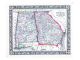 1864, Landkarte von Vereinigte Staaten, USA, Georgia, Alabama, Florida, Nordamerika Giclée-Druck