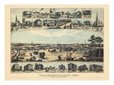 1882, Willmantic Bird's Eye View from Blake Mountain, Connecticut, United States Giclee Print