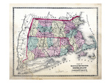 1872, State Map Massachusetts - Rhode Island - Connecticut, Massachusetts, United States Giclee Print