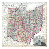 1875, Railroad Map, Ohio, United States Giclee Print