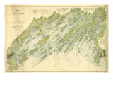 1870, Casco Bay Chart, Maine, Maine, United States Giclée-Druck