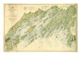 1870, Casco Bay Chart, Maine, Maine, United States Giclee Print