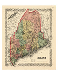 1855, Maine State Map 1855, Maine, United States Giclee Print