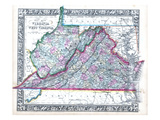1864, Virginia and West Virginia Mitchell Plate, Virginia, United States Giclee Print