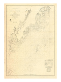 1864, St Georges River and Muscle Ridge Channel Chart Maine, Maine, United States Reproduction procédé giclée