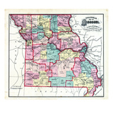 1876, Missouri Political Map, Missouri, United States Giclee Print