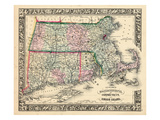 1864, Massachusetts, Connecticut and Rhode Island Mitchell Plate A, Rhode Island, United State Giclee Print