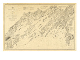 1870, Casco Bay Chart Maine, Maine, United States Reproduction procédé giclée