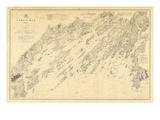 1870, Casco Bay Chart Maine, Maine, United States Giclee Print