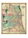1875, Chicago City Map, Illinois, United States Giclee Print