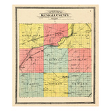 1903, Kendall County Outline Map, Illinois, United States Giclee Print