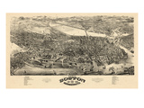 1880, Boston Bird's Eye View, Massachusetts, United States Giclee Print