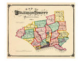 1875, Delaware County Map, Pennsylvania, United States Giclee Print