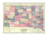 1913, South Dakota State Map, South Dakota, United States Giclee Print