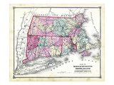 1874, State Map - Connecticut Massachusetts Rhode Island, Connecticut, United States Giclee Print