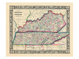1864, United States, Kentucky, Tennessee, North America, Kentucky and Tennessee Giclee Print