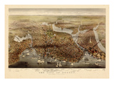 1873, Boston Bird's Eye View, Massachusetts, United States Giclee Print