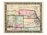 1864, Landkarte von Vereinigte Staaten, USA, Colorado, Kansas, Nebraska, Dakota, Nordamerika Giclée-Druck