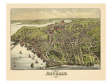 1886, Beverly Bird's Eye View, Massachusetts, United States Giclee Print