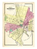 1868, New Haven City Map, Connecticut, United States Giclee Print