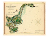 1854, York River and Cape Neddick Harbors Chart, Maine, Maine, United States Giclee Print