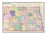 1911, North Dakota State Map, North Dakota, United States Giclee Print