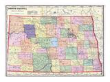 1911, North Dakota State Map, North Dakota, United States Giclee Print