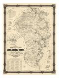 1860, Anne Arundel County Wall Map, Maryland, United States Giclee Print