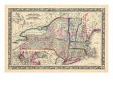 1864, United States, Connecticut, Maine, Massachusetts, New Hampshire, New Jersey, New York, Penn Giclée-Druck