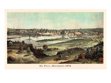 1874, St. Paul 1874 Bird's Eye View, Minnesota, United States Giclee Print